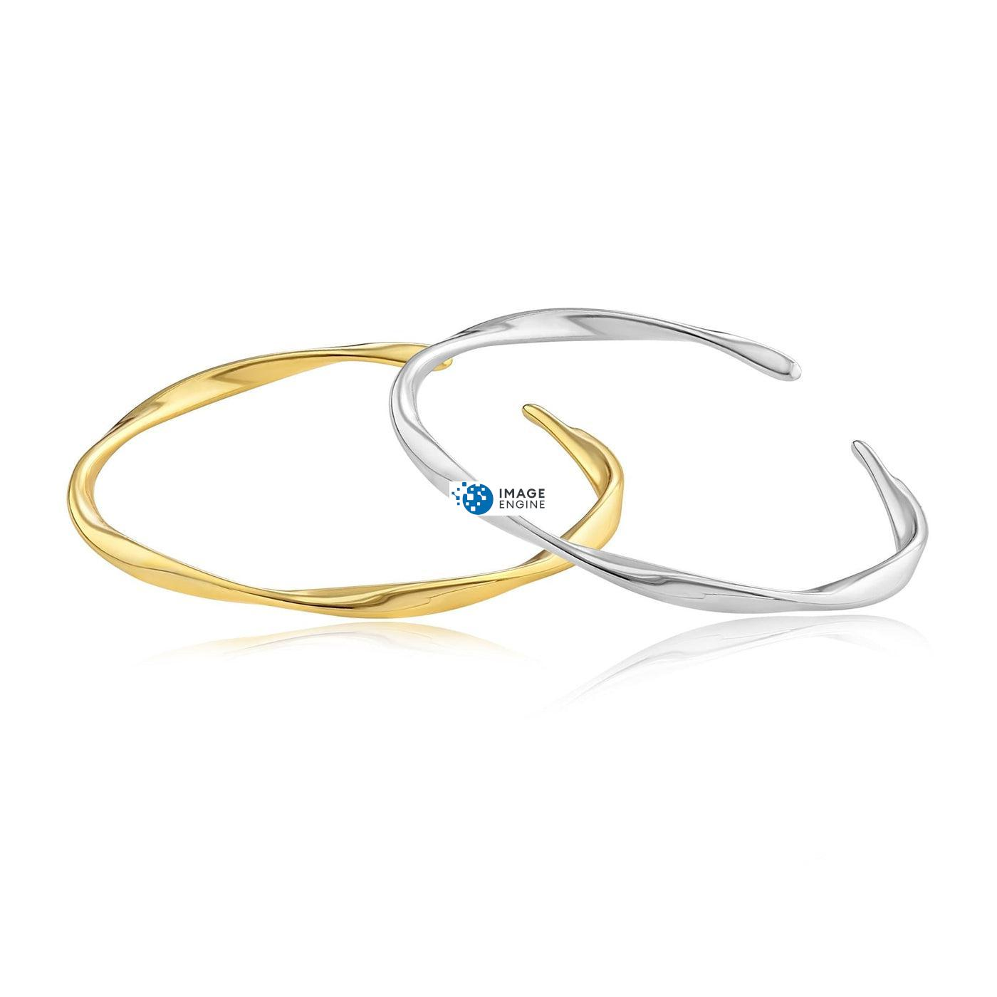 Olivia Twist Ring - Front View Side by Side - 18K Yellow Gold Vermeil and 925 Sterling Silver