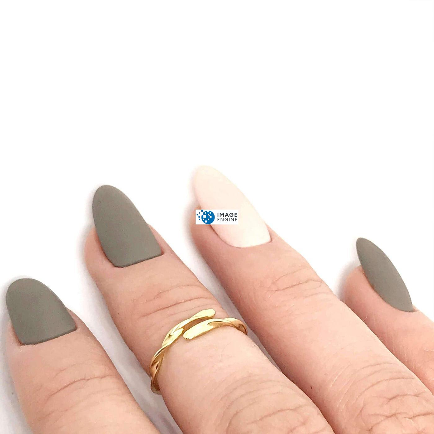 Olivia Twist Ring - On Middle Finger