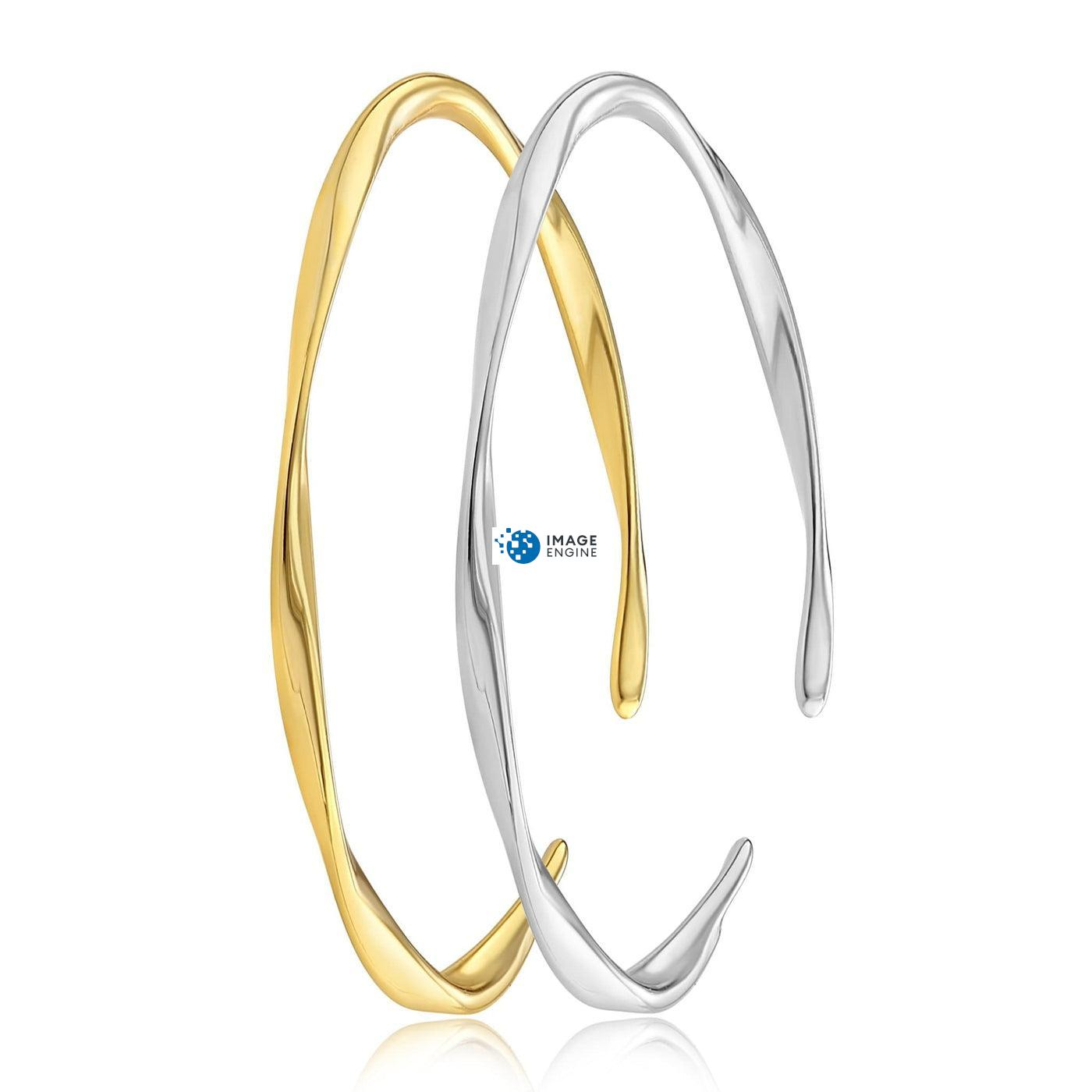 Olivia Twist Ring - Side by Side - 18K Yellow Gold and 925 Sterling Silver