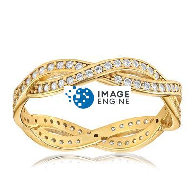 Rebecca Rope Ring - Front View Facing Up - 18K Yellow Gold Vermeil