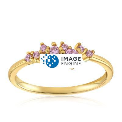 Rose Quartz Cluster Ring - Front View Facing Up - 18K Yellow Gold Vermeil Featured