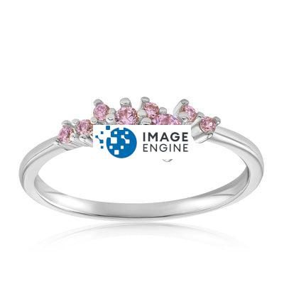 Rose Quartz Cluster Ring - Front View Facing Up - 925 Sterling Silver