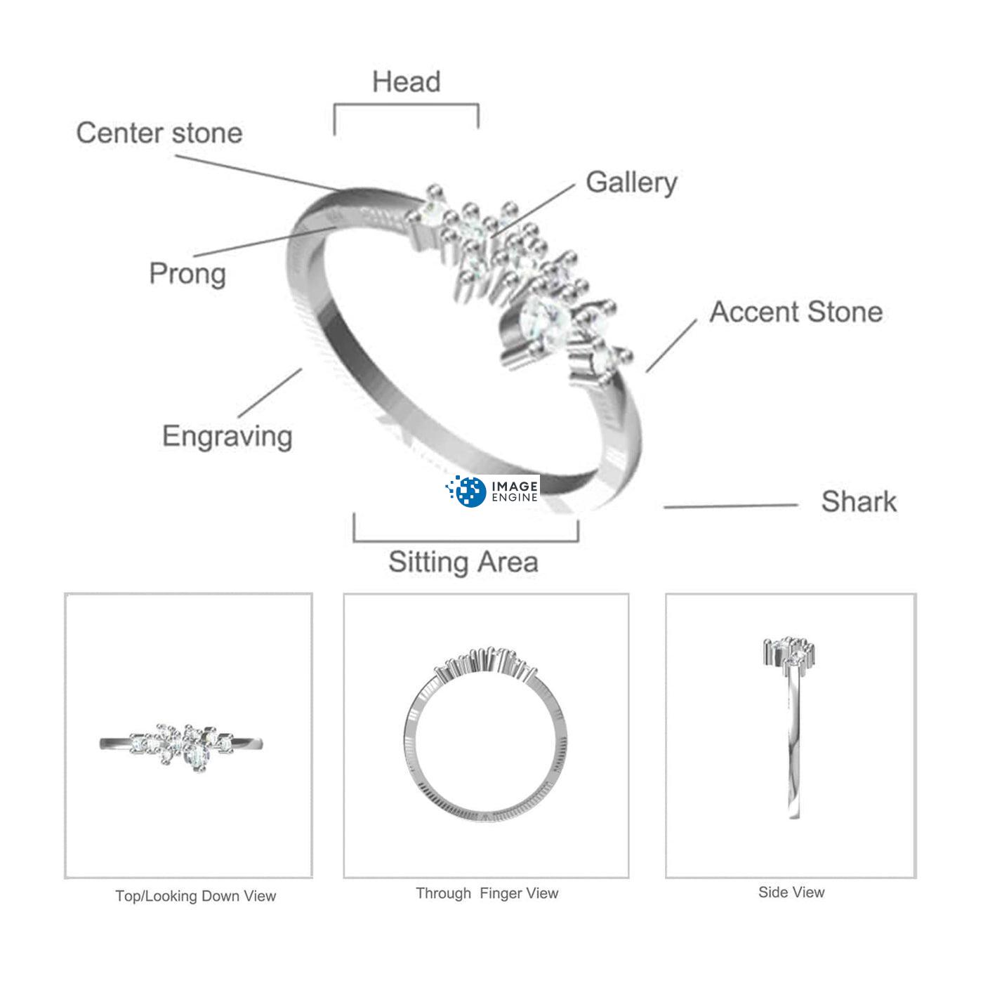 Rose Quartz Cluster Ring Diagram and Specifications