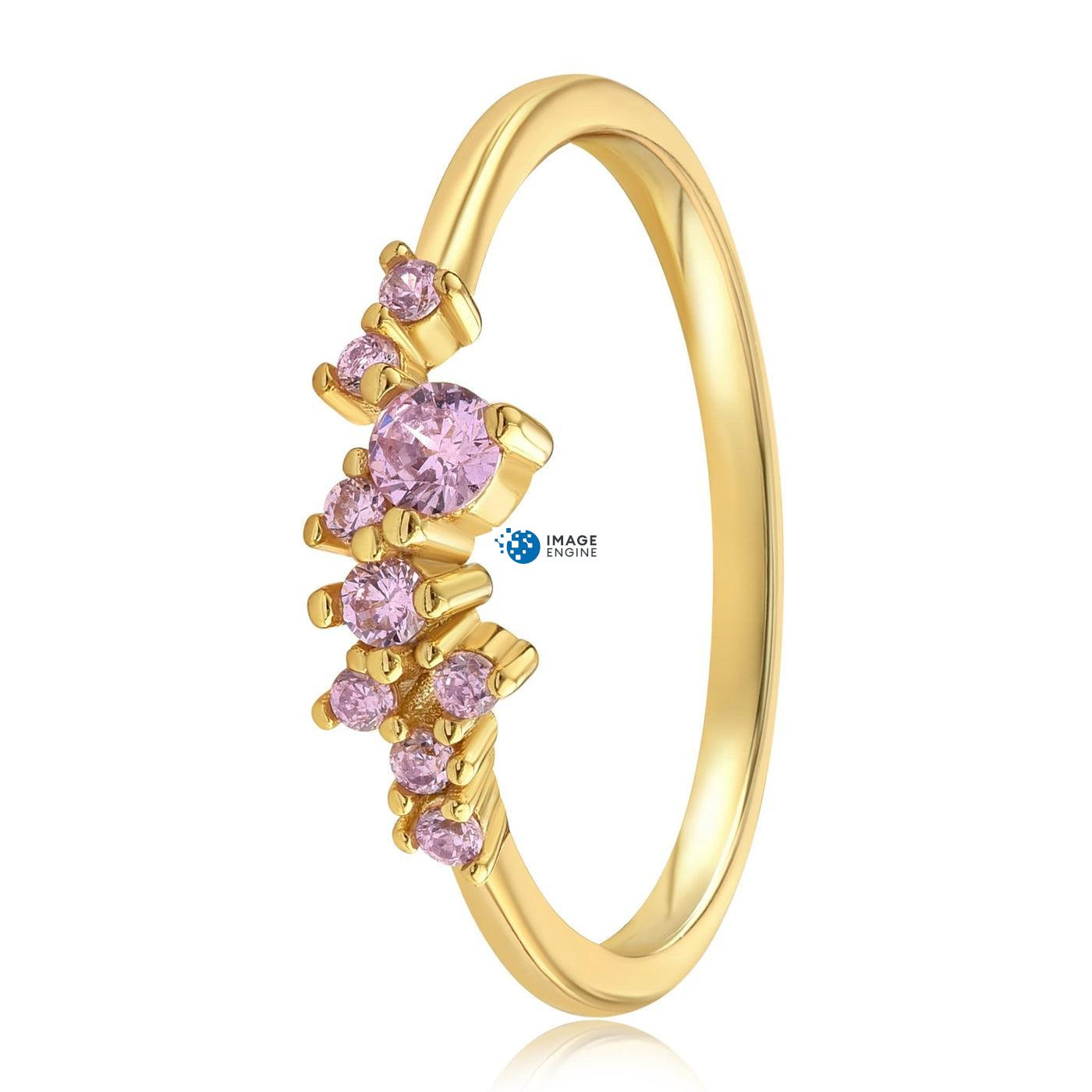 Rose Quartz Cluster Ring - Side View - 18K Yellow Gold Vermeil