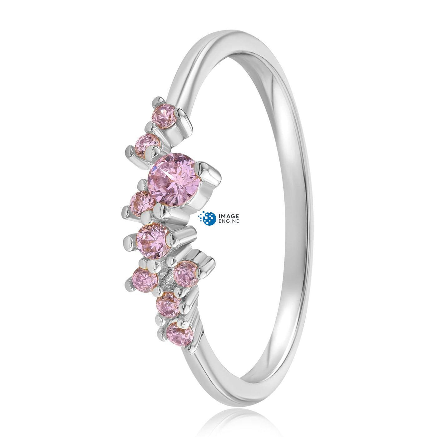 Rose Quartz Cluster Ring - Side View - 925 Sterling Silver