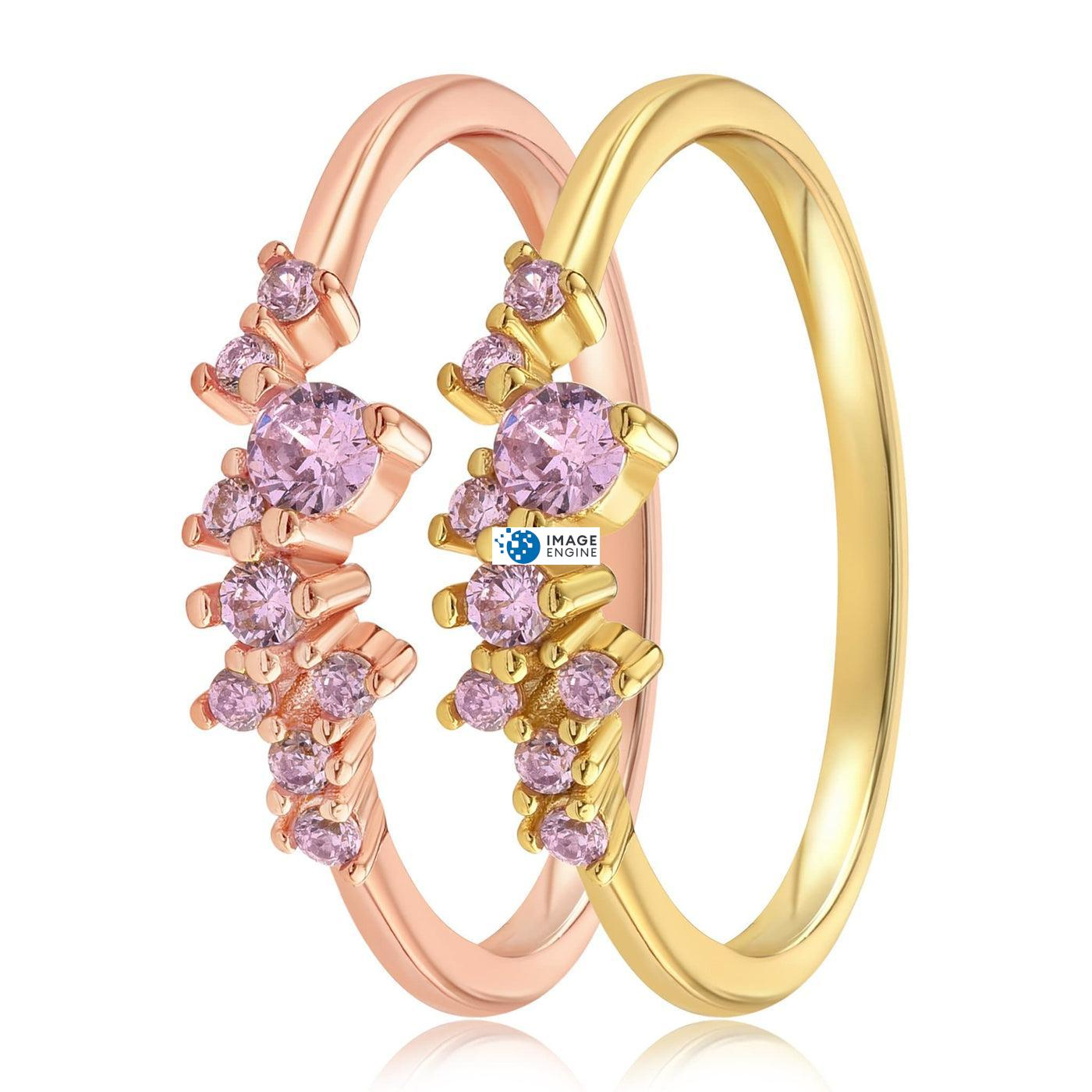 Rose Quartz Cluster Ring - Side by Side - 18K Yellow Gold Vermeil and 18K Rose Gold Vermeil