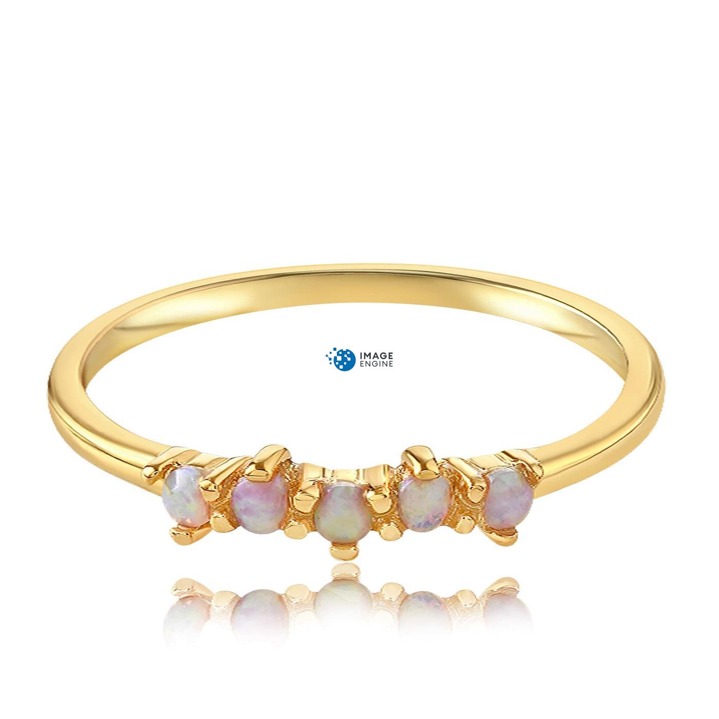 Samantha Simple Dots 5 Opal Ring - Front View Facing Down - 18K Yellow Gold Vermeil