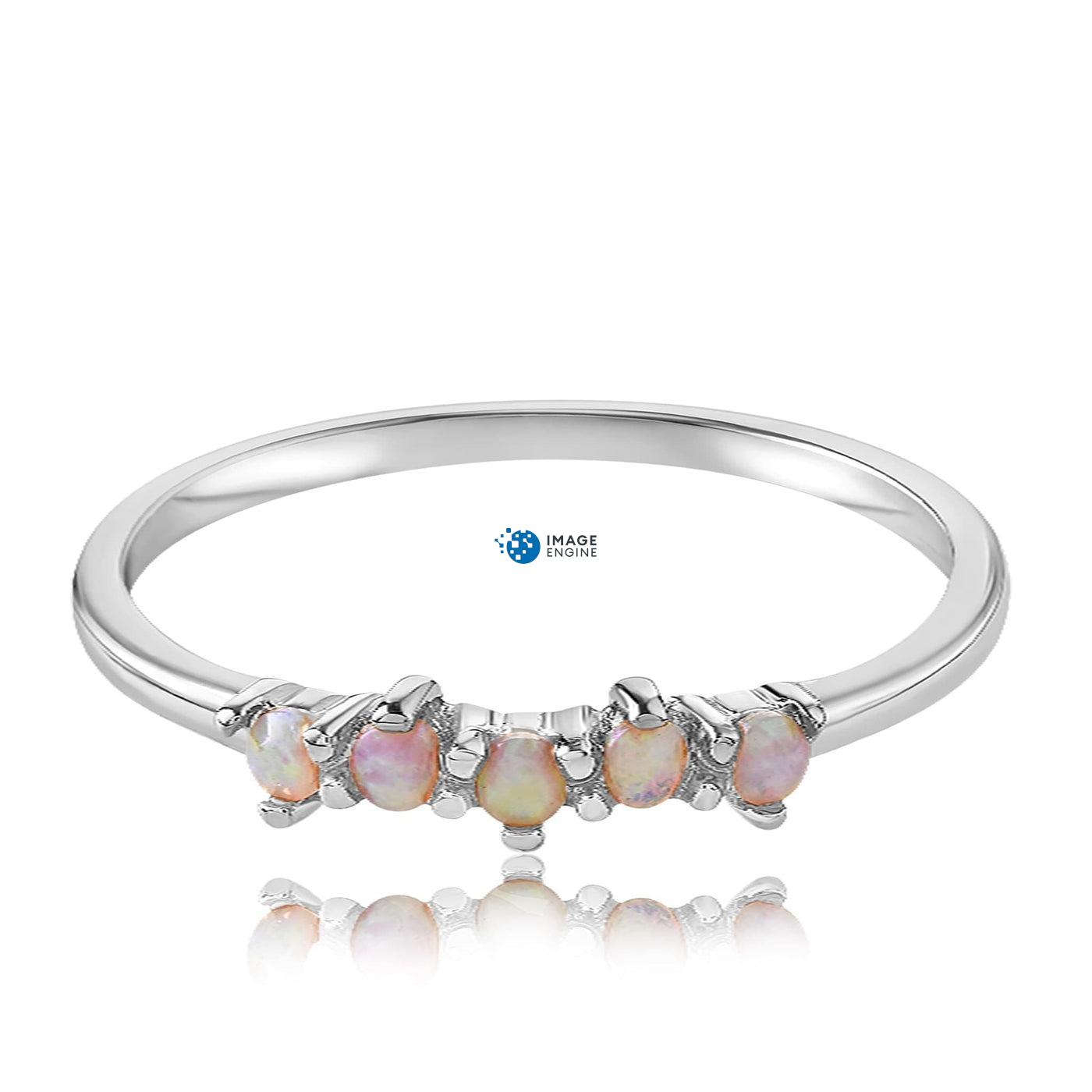 Samantha Simple Dots 5 Opal Ring - Front View Facing Down - 925 Sterling Silver