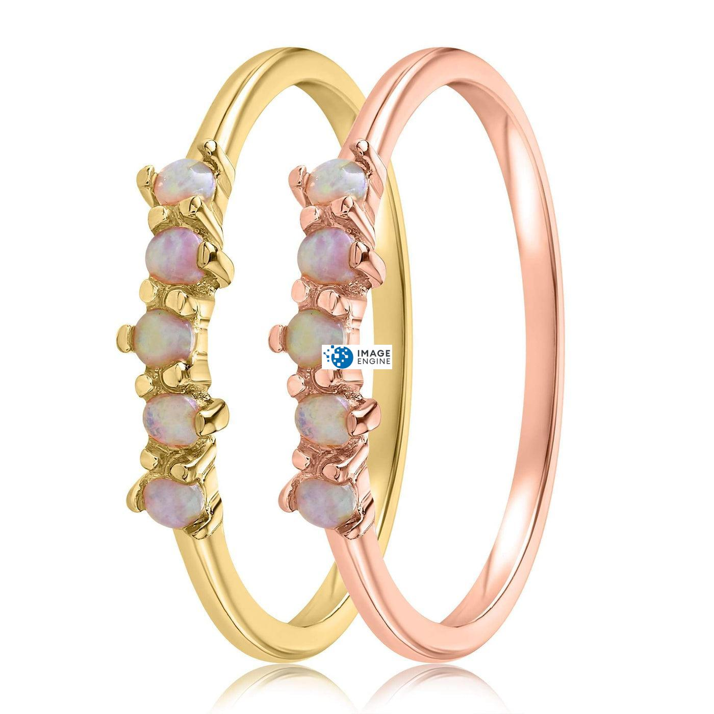 Samantha Simple Dots 5 Opal Ring - Side by Side - 18K Yellow Gold Vermeil and 18K Rose Gold Vermeil