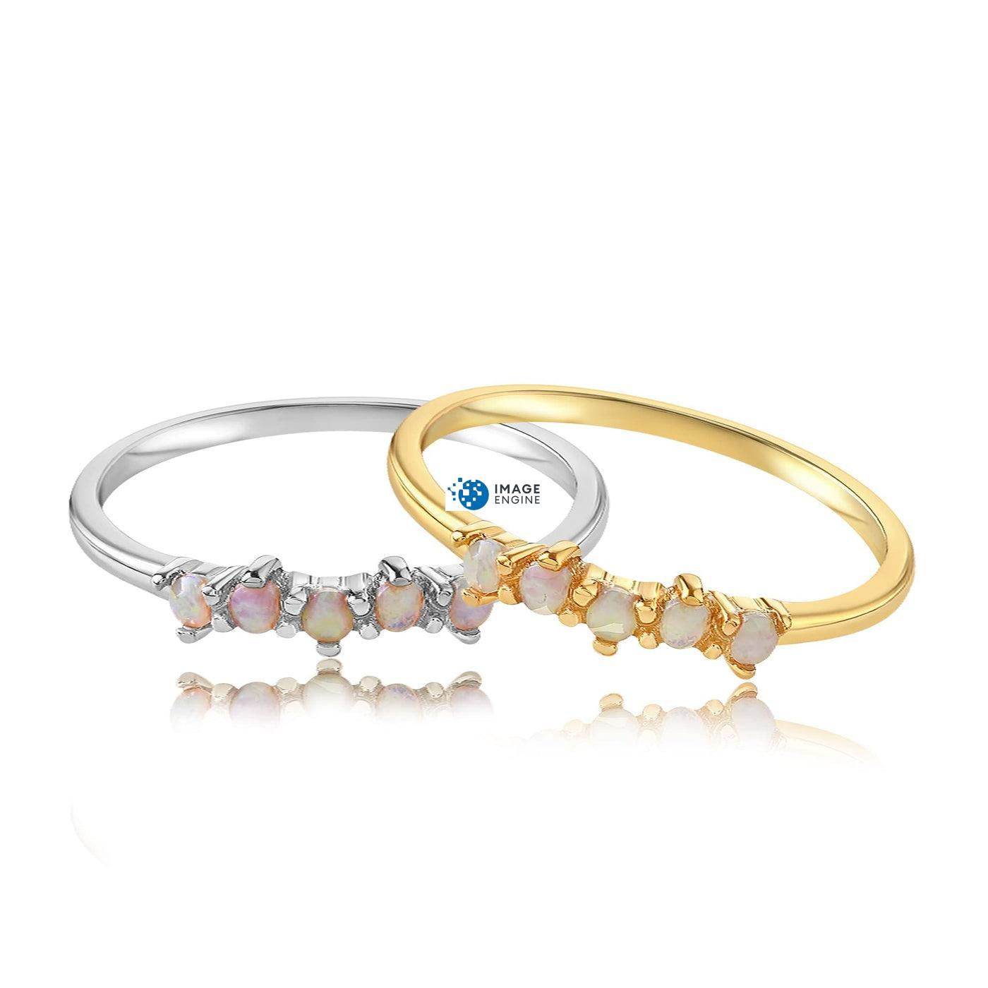 Samantha Simple Dots 5 Opal Ring - Front View Side by Side - 18K Yellow Gold Vermeil and 925 Sterling Silver