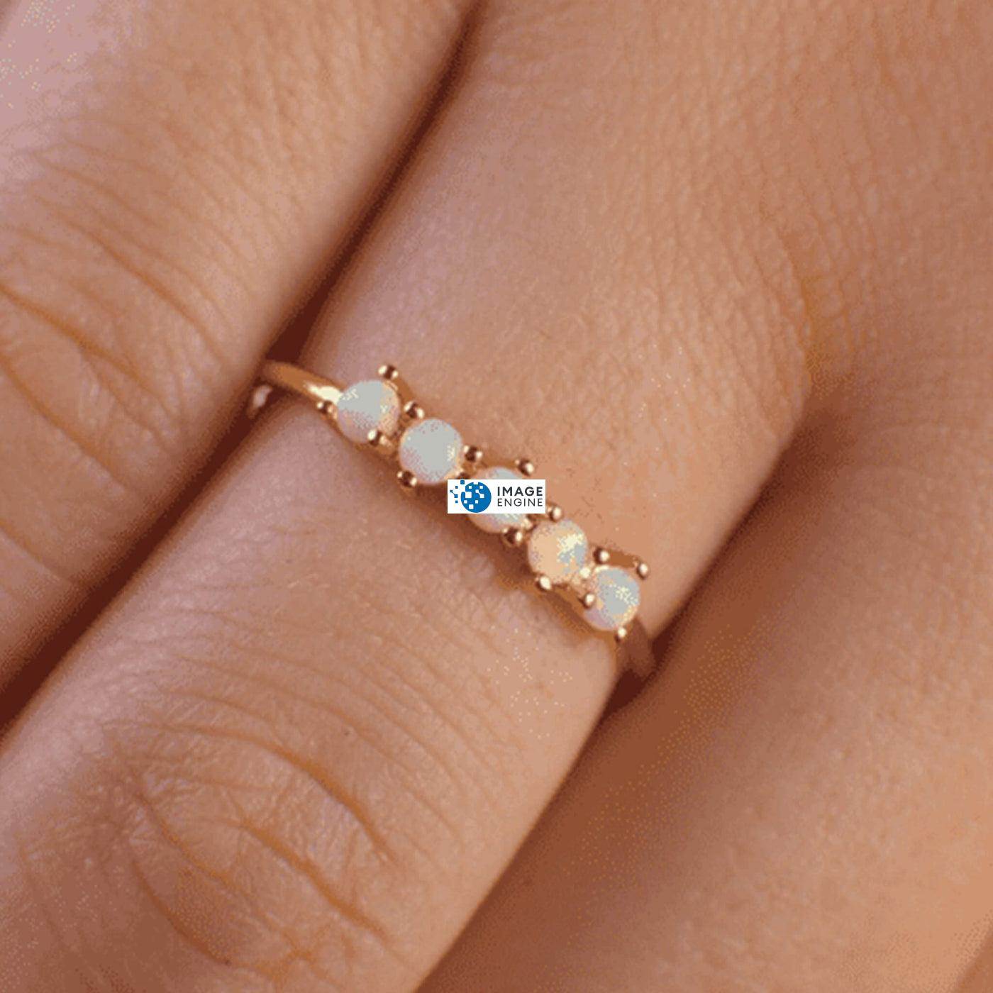 Samantha Simple Dots 5 Opal Ring - On Ring Finger Zoomed In - 18K Rose Gold Vermeil
