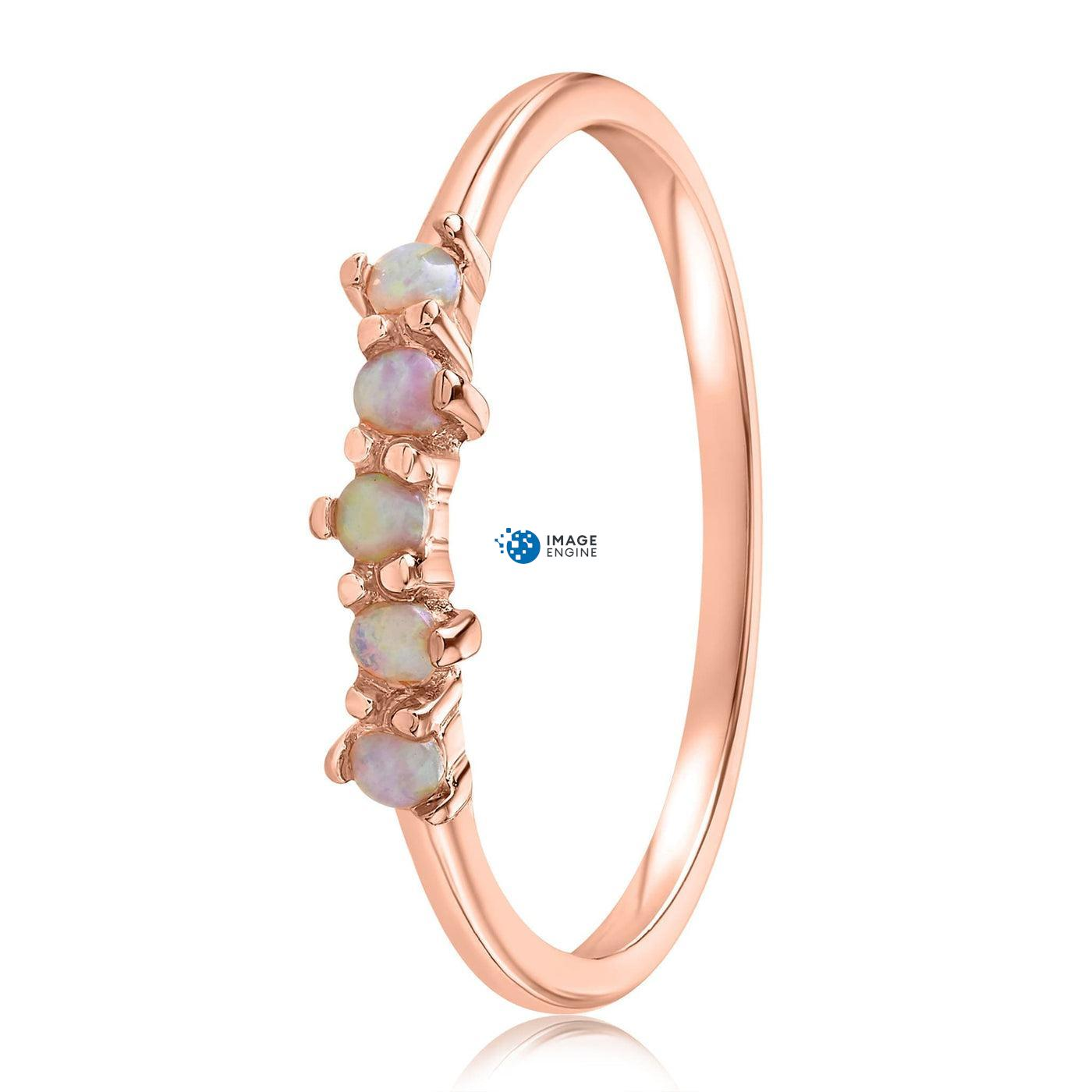 Samantha Simple Dots 5 Opal Ring - Side View - 18K Rose Gold Vermeil