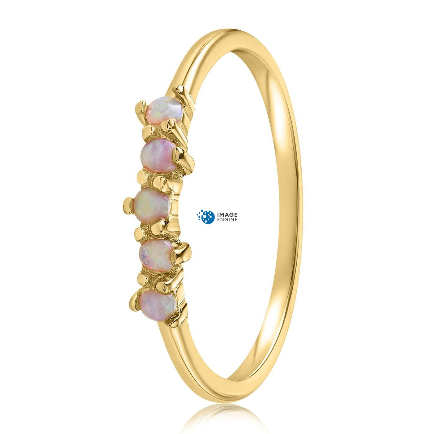 Samantha Simple Dots 5 Opal Ring - Side View - 18K Yellow Gold Vermeil