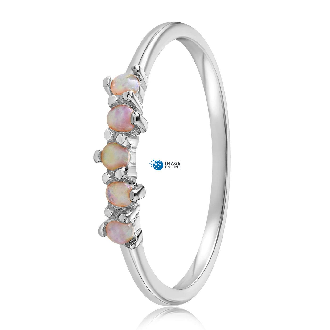 Samantha Simple Dots 5 Opal Ring - Side View - 925 Sterling Silver