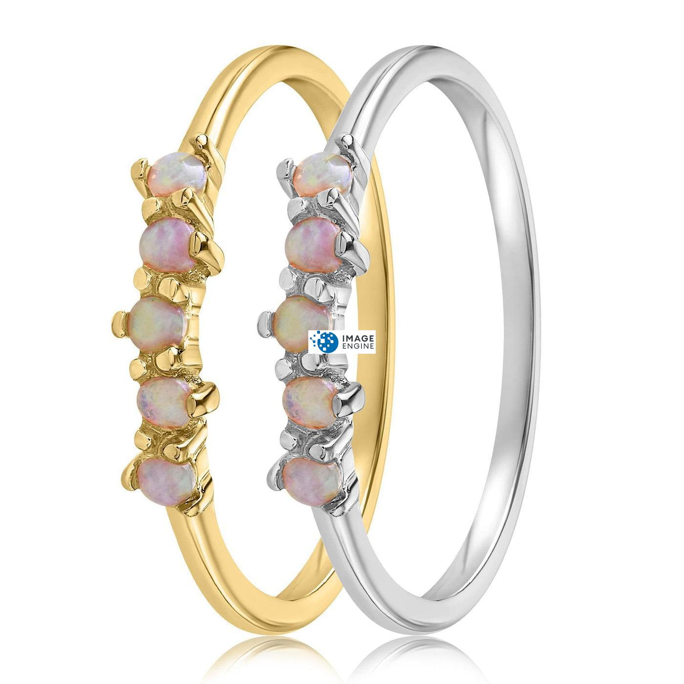 Samantha Simple Dots 5 Opal Ring - Side by Side - 18K Yellow Gold and 925 Sterling Silver
