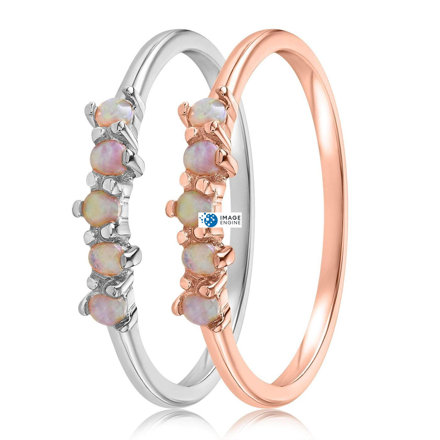 Samantha Simple Dots 5 Opal Ring - Side by Side - 925 Sterling Silver and 18K Rose Gold Vermeil