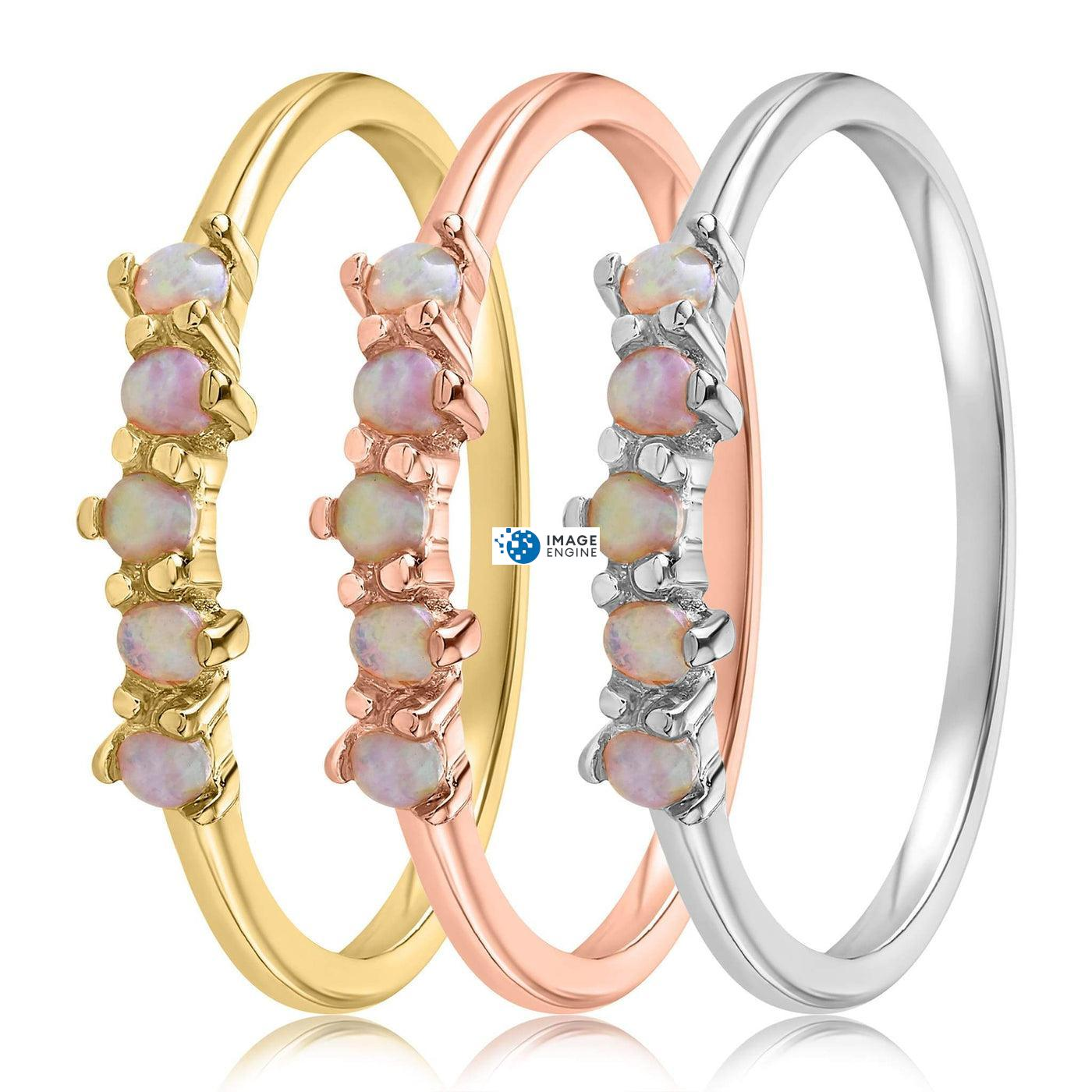Samantha Simple Dots 5 Opal Ring - Side by Side - Collection