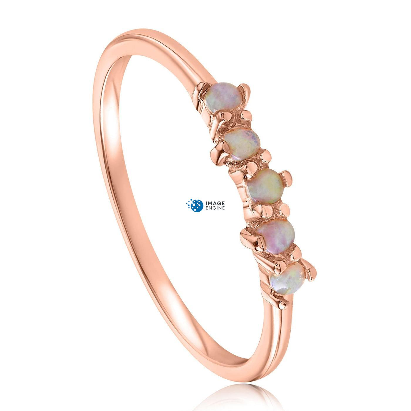 Samantha Simple Dots 5 Opal Ring - Three Quarter View - 18K Rose Gold Vermeil