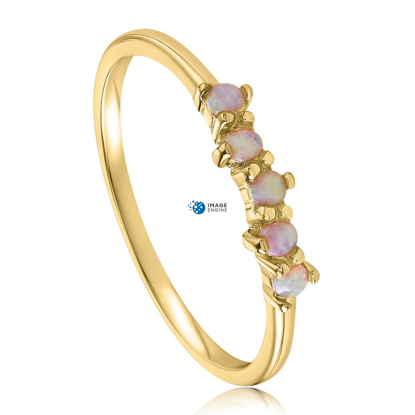 Samantha Simple Dots 5 Opal Ring - Three Quarter View - 18K Yellow Gold Vermeil