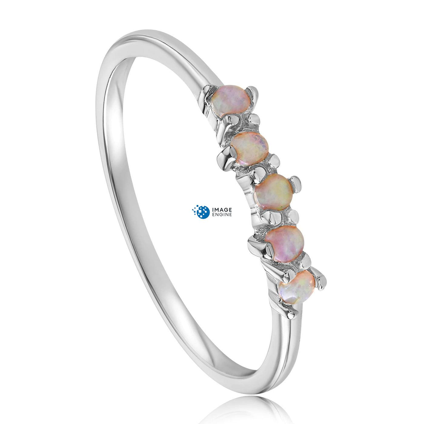 Samantha Simple Dots 5 Opal Ring - Three Quarter View - 925 Sterling Silver