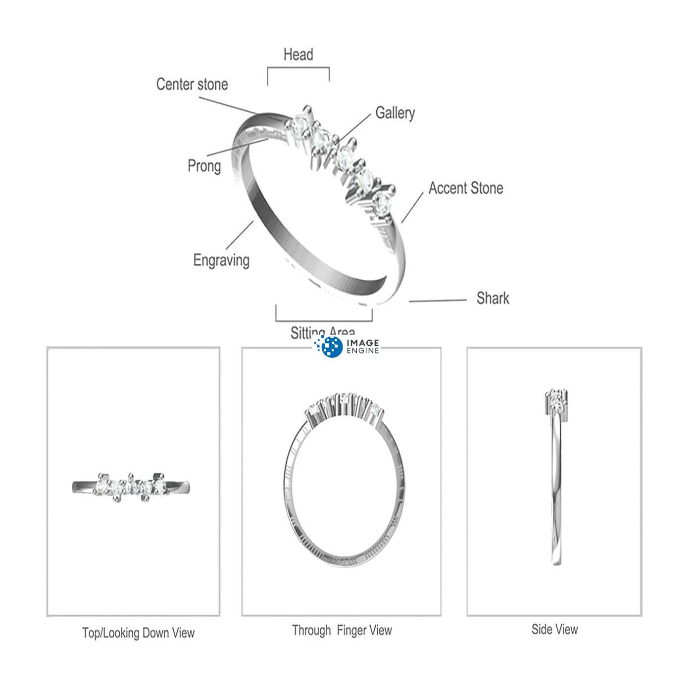 Samantha Simple Dots 5 Opal Ring Diagram and Specifications