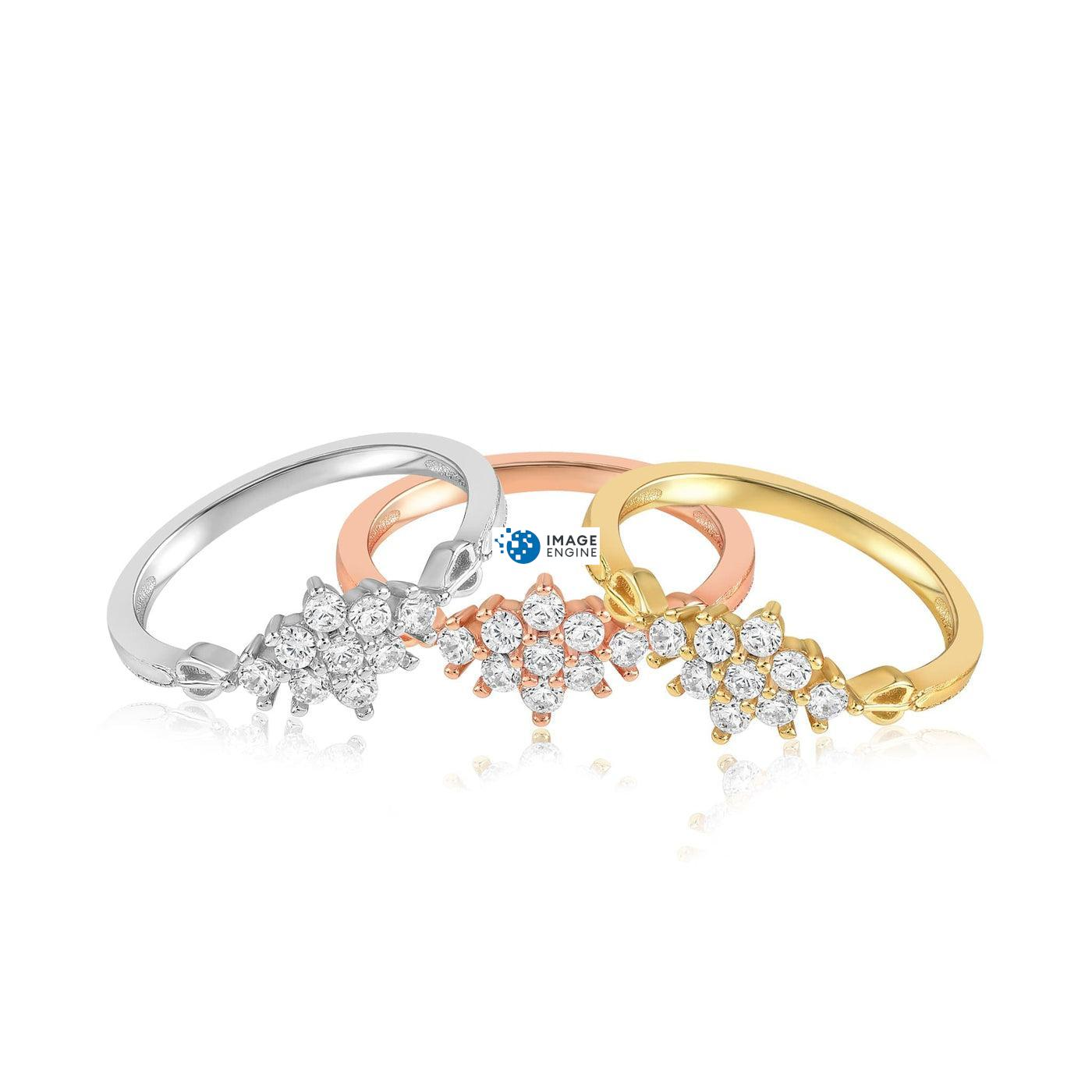 Sarah Snowflake Dainty Ring - Front View - Collection