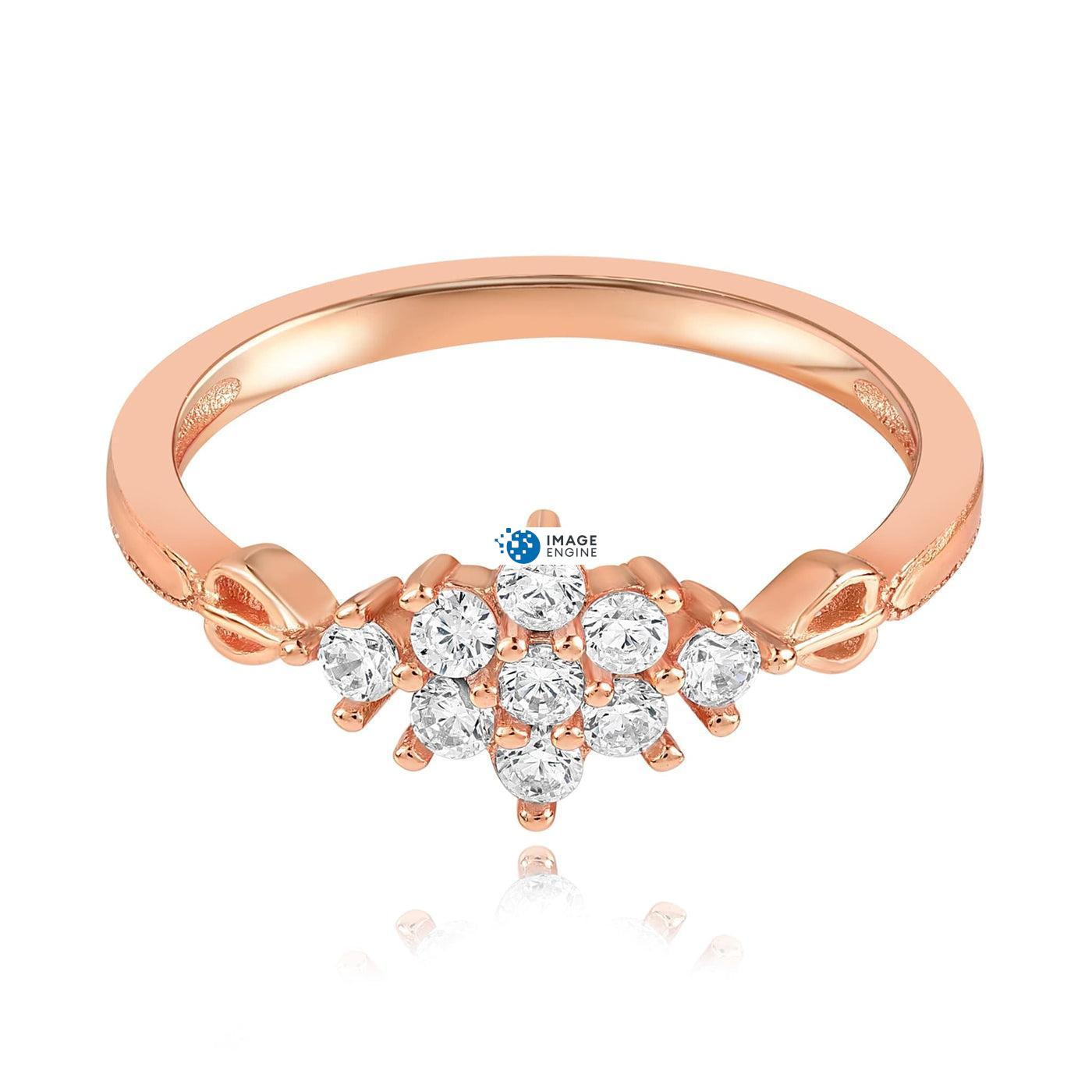 Sarah Snowflake Dainty Ring - Front View Facing Down - 18K Rose Gold Vermeil