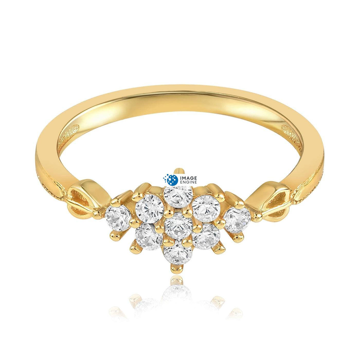 Sarah Snowflake Dainty Ring - Front View Facing Down - 18K Yellow Gold Vermeil