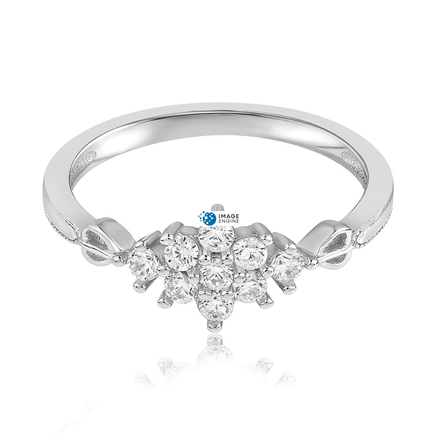 Sarah Snowflake Dainty Ring - Front View Facing Down - 925 Sterling Silver