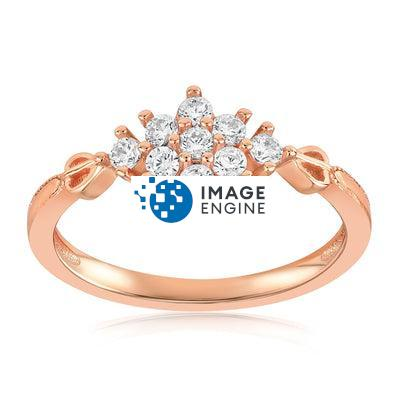 Sarah Snowflake Dainty Ring - Front View Facing Up - 18K Rose Gold Vermeil