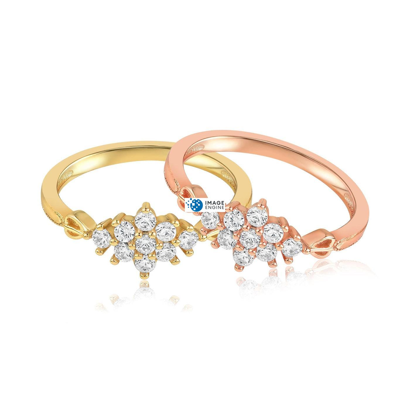 Sarah Snowflake Dainty Ring - Front View Side by Side - 18K Rose Gold Vermeil and 18K Yellow Gold Vermeil