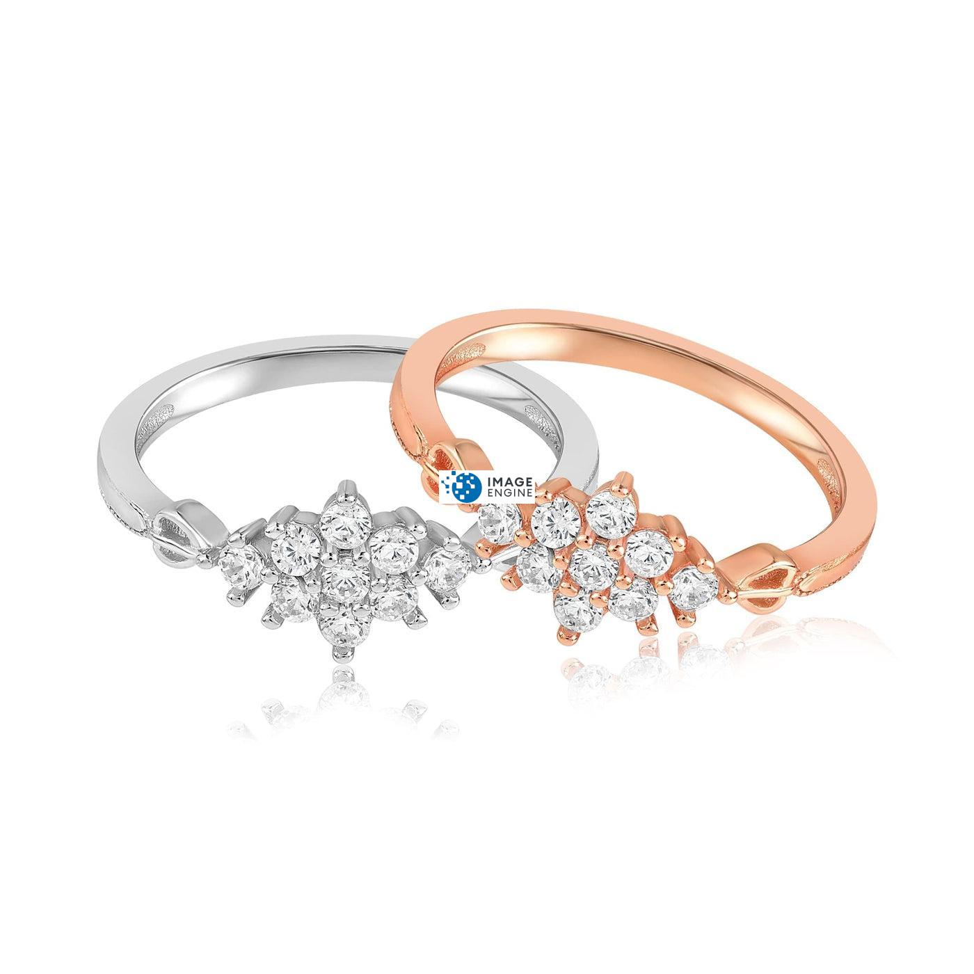 Sarah Snowflake Dainty Ring - Front View Side by Side - 18K Rose Gold Vermeil and 925 Sterling Silver