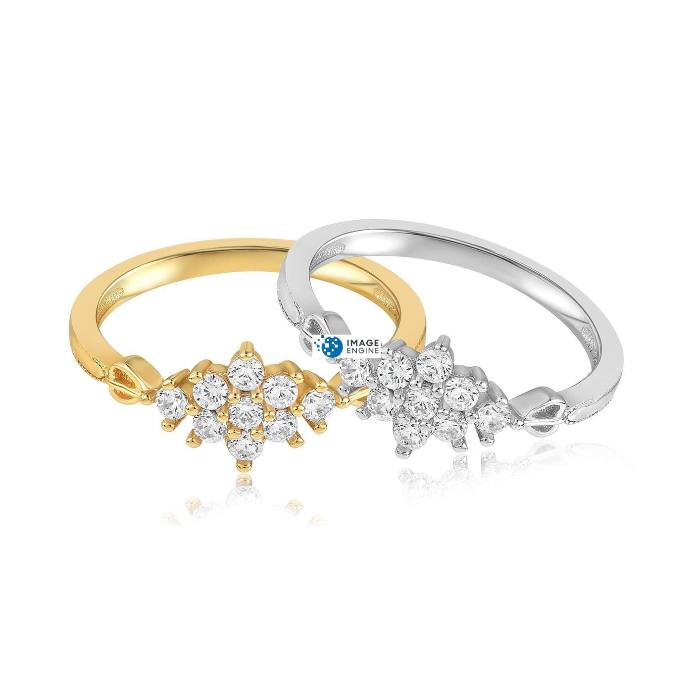 Sarah Snowflake Dainty Ring - Front View Side by Side - 18K Yellow Gold Vermeil and 925 Sterling Silver