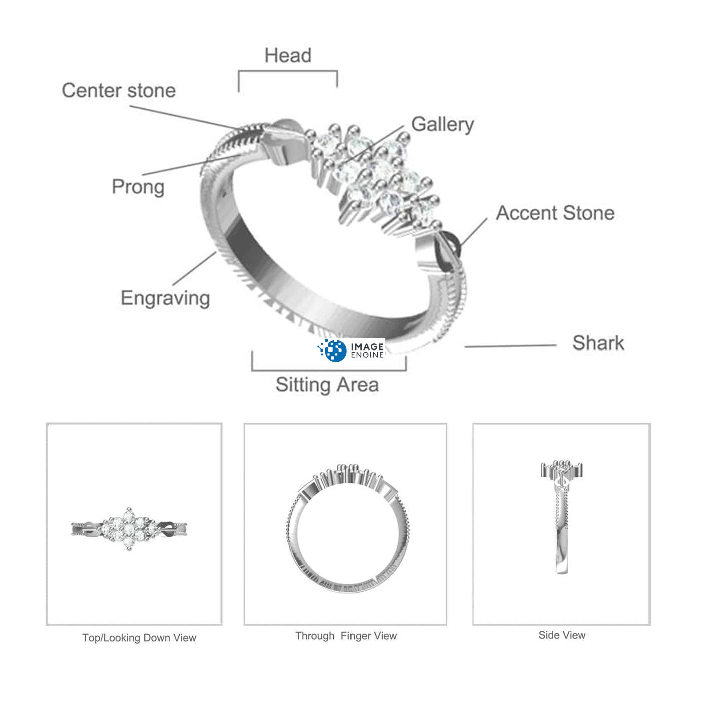 Sarah Snowflake Ring Diagram and Specifications