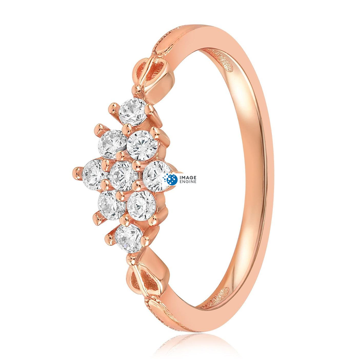 Sarah Snowflake Dainty Ring - Side View - 18K Rose Gold Vermeil