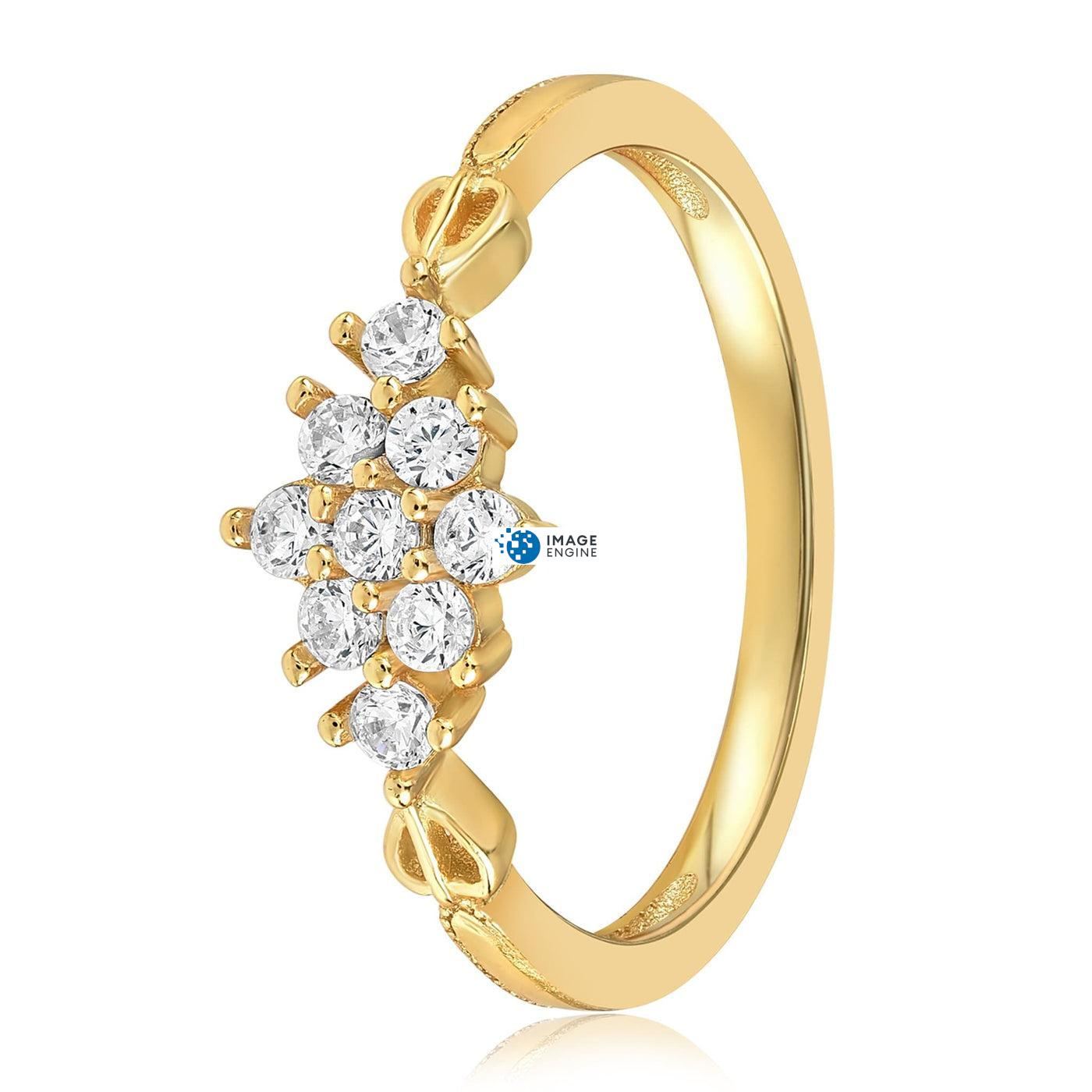 Sarah Snowflake Dainty Ring - Side View - 18K Yellow Gold Vermeil