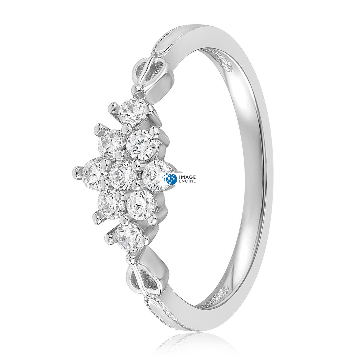 Sarah Snowflake Dainty Ring - Side View - 925 Sterling Silver