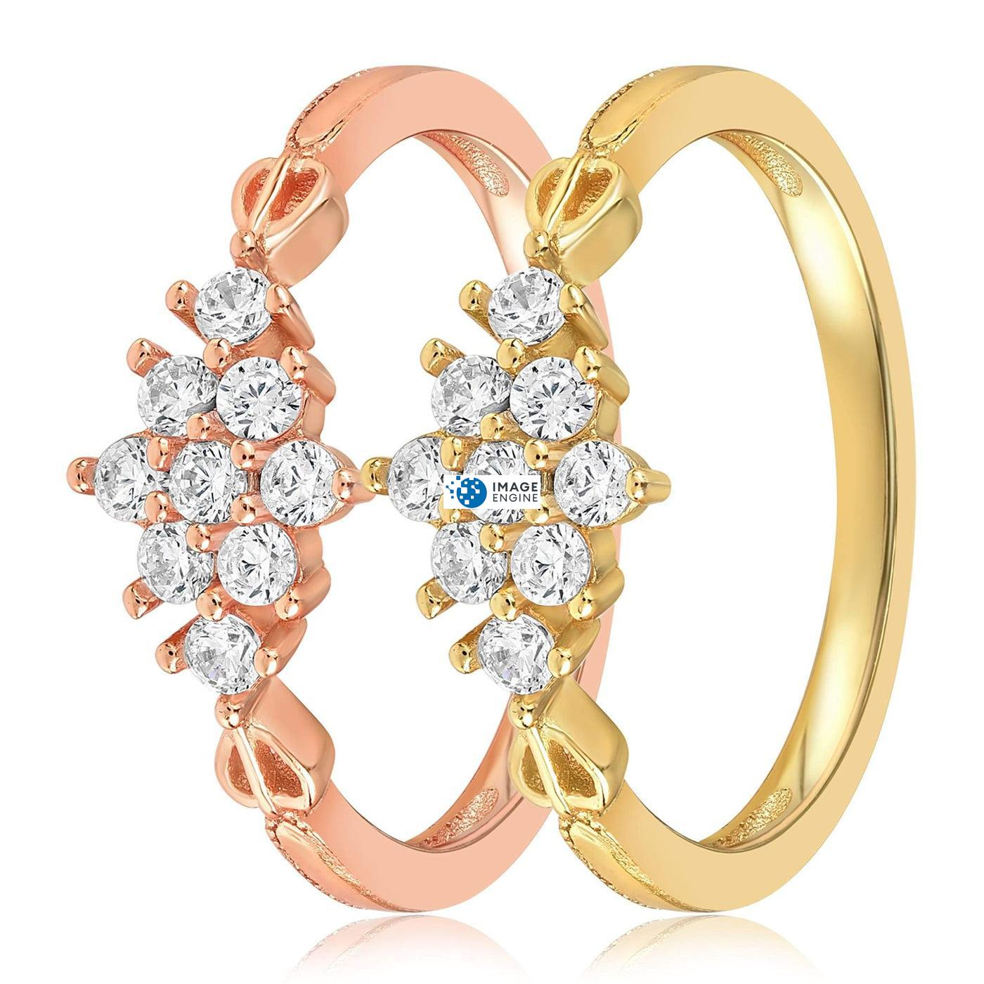 Sarah Snowflake Dainty Ring - Side by Side - 18K Yellow Gold Vermeil and 18K Rose Gold Vermeil