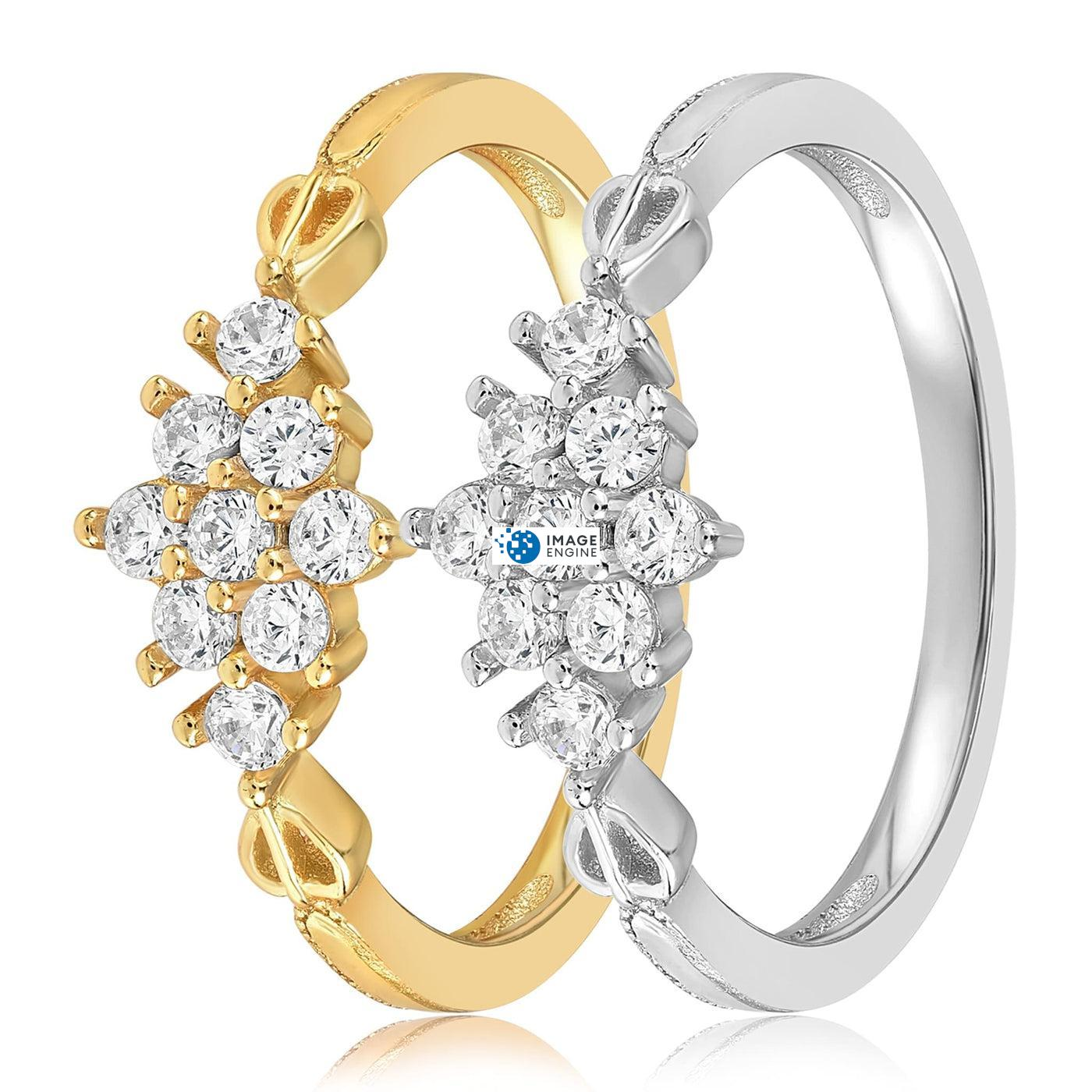 Sarah Snowflake Dainty Ring - Side by Side - 18K Yellow Gold and 925 Sterling Silver