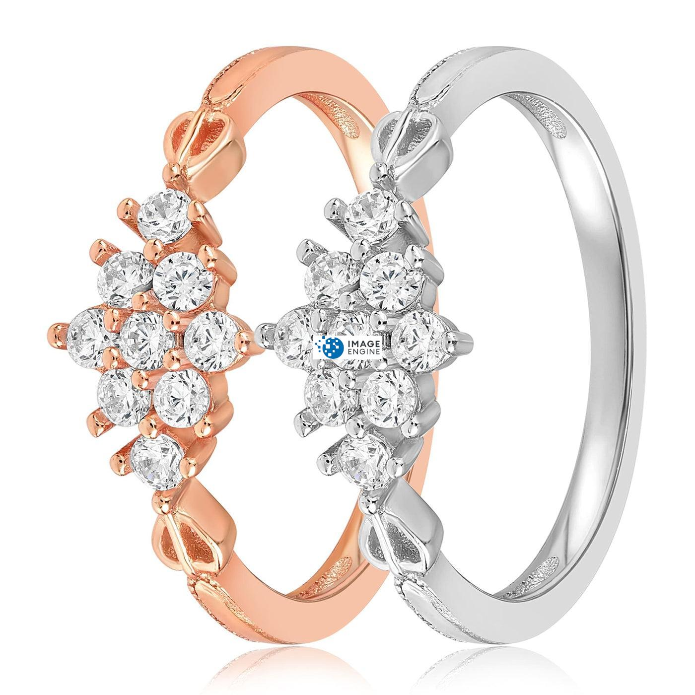 Sarah Snowflake Dainty Ring - Side by Side - 925 Sterling Silver and 18K Rose Gold Vermeil