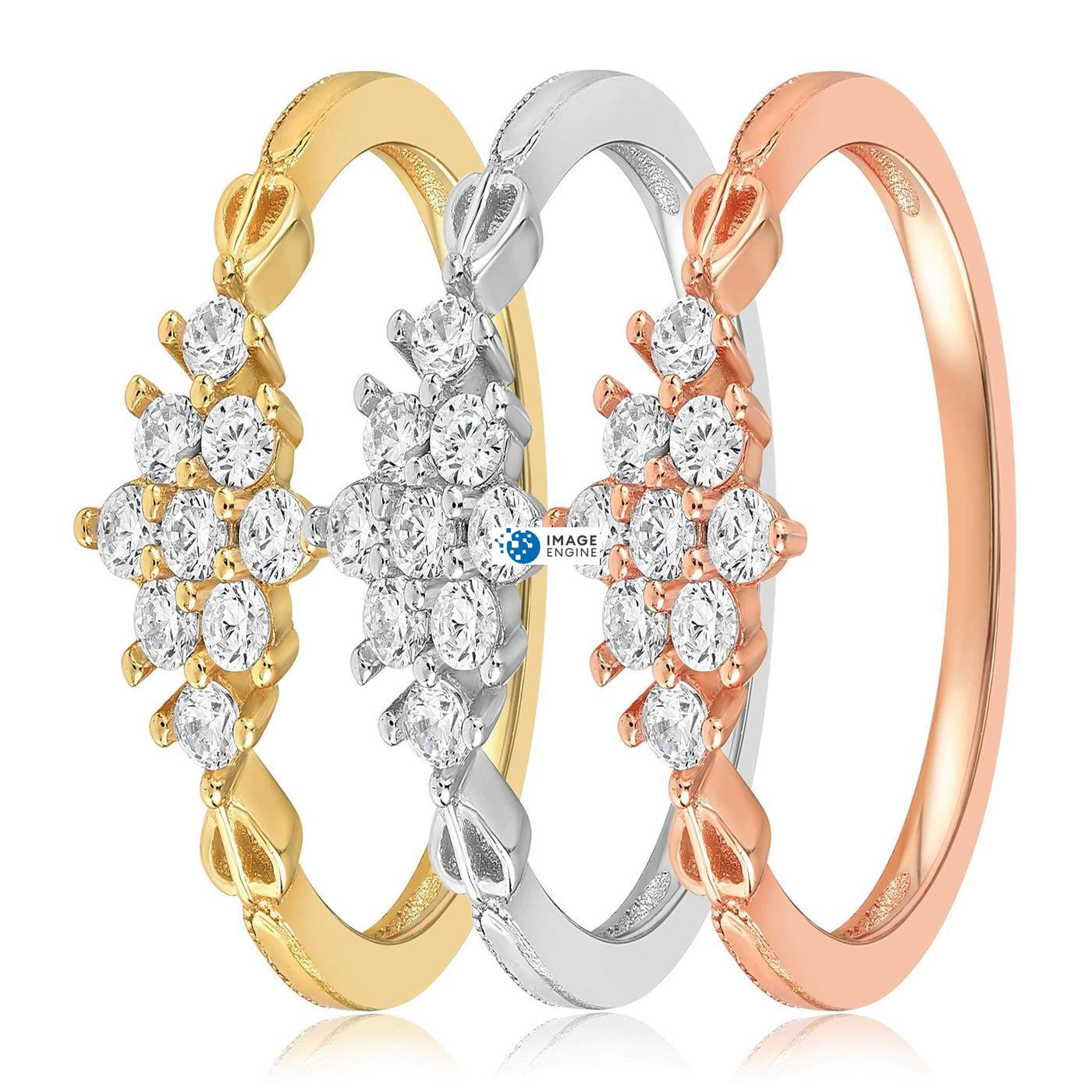 Sarah Snowflake Dainty Ring - Side by Side - Collection