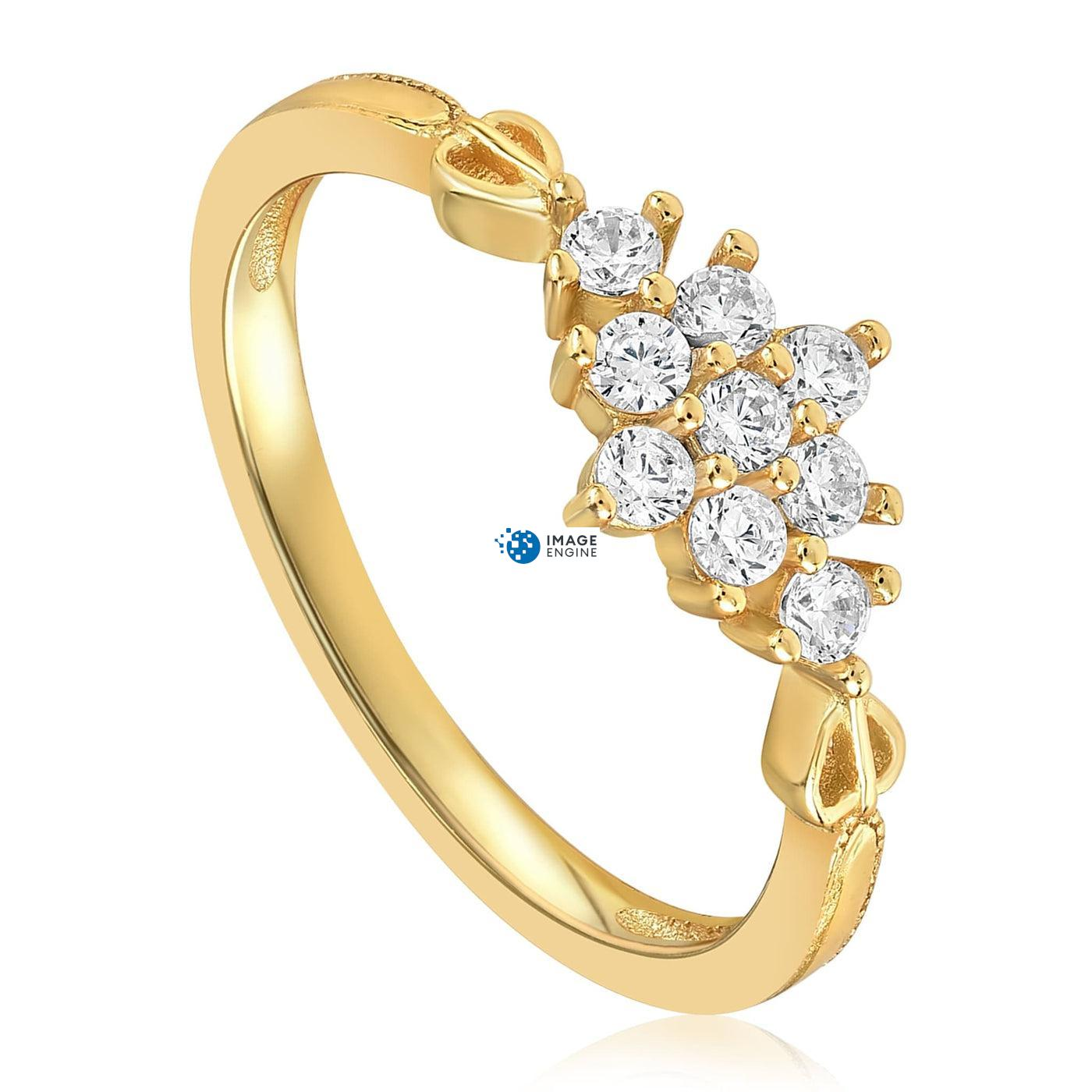 Sarah Snowflake Dainty Ring - Three Quarter View - 18K Yellow Gold Vermeil