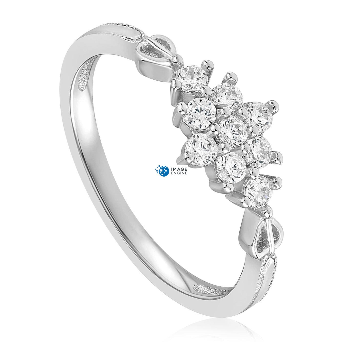 Sarah Snowflake Dainty Ring - Three Quarter View - 925 Sterling Silver