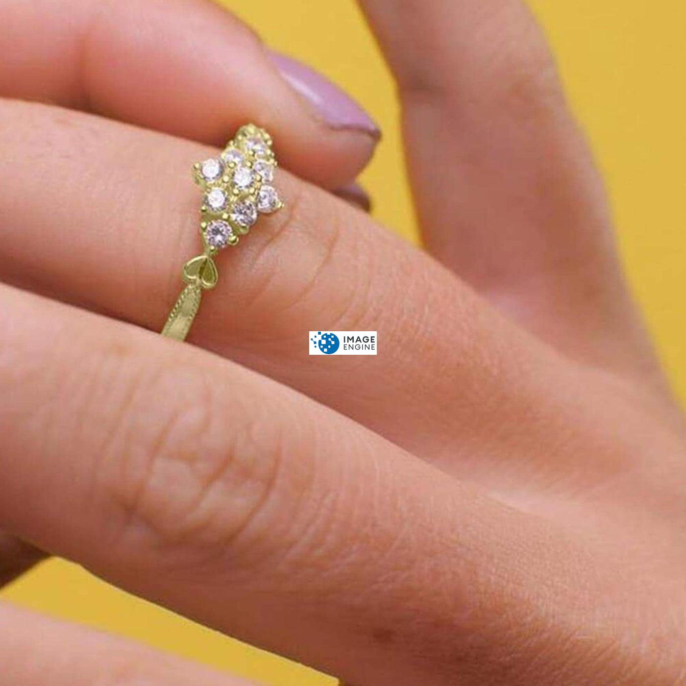 Sarah Snowflake Dainty Ring - Wearing on Ring Finger on Higher Angle View - 18K Yellow Gold Vermeil