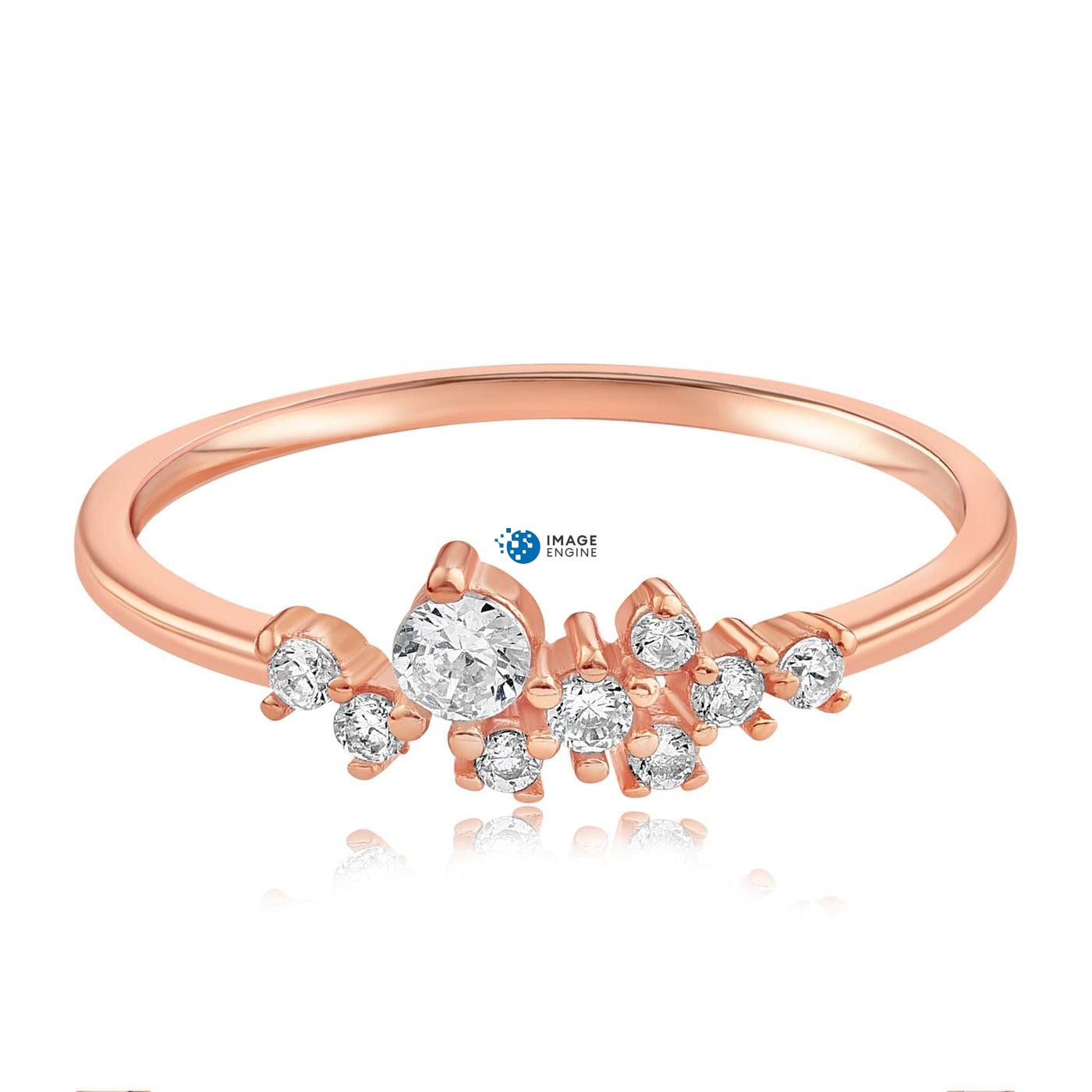 Sasha Sparkle Ring - Front View Facing Down - 18K Rose Gold Vermeil