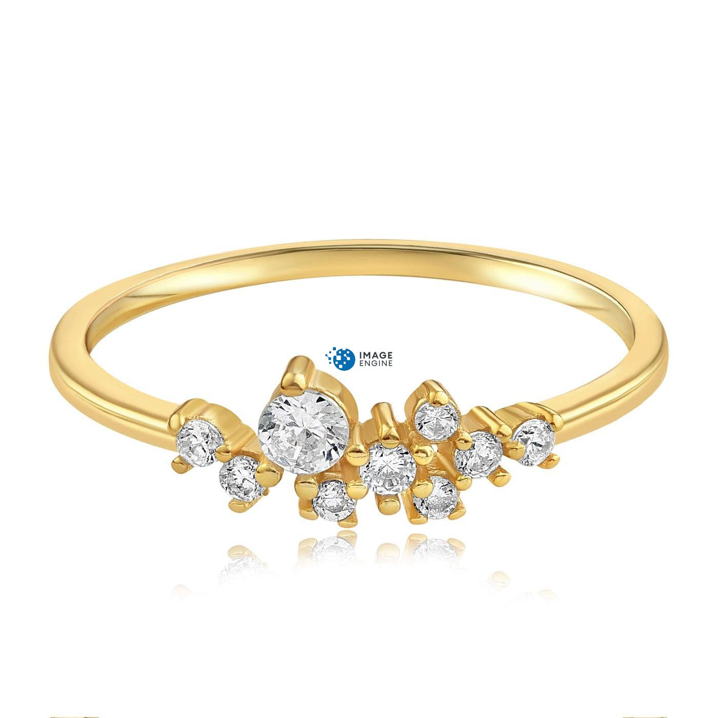 Sasha Sparkle Ring - Front View Facing Down - 18K Yellow Gold Vermeil