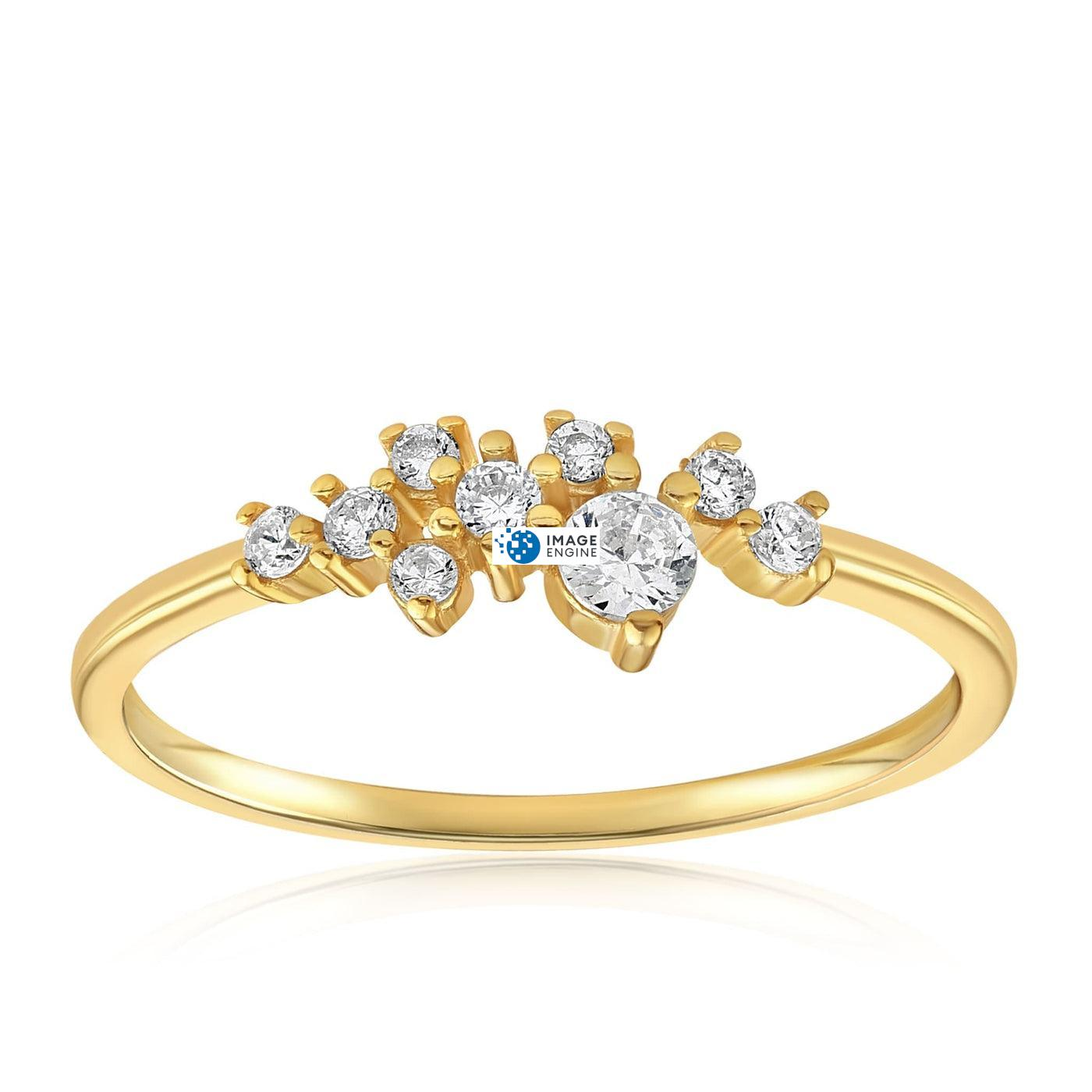 Sasha Sparkle Ring - Front View Facing Up - 18K Yellow Gold Vermeil