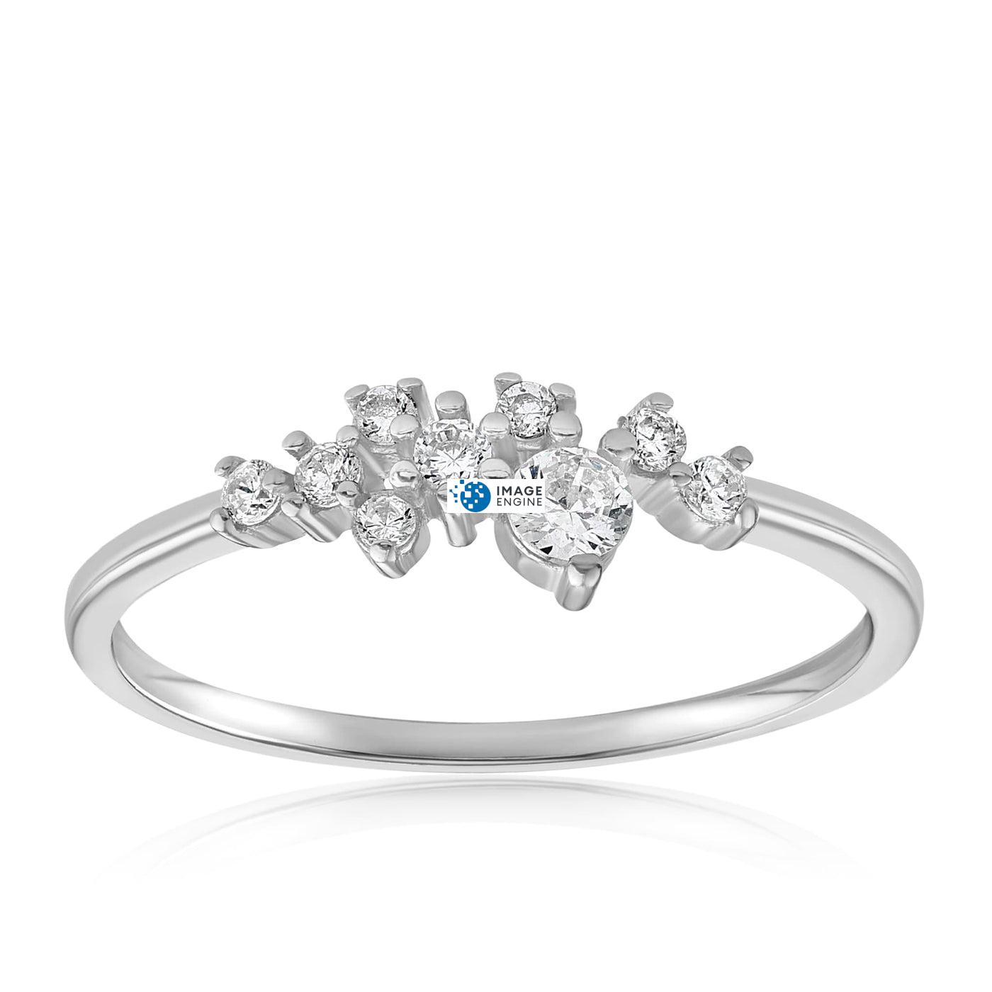 Sasha Sparkle Ring - Front View Facing Up - 925 Sterling Silver
