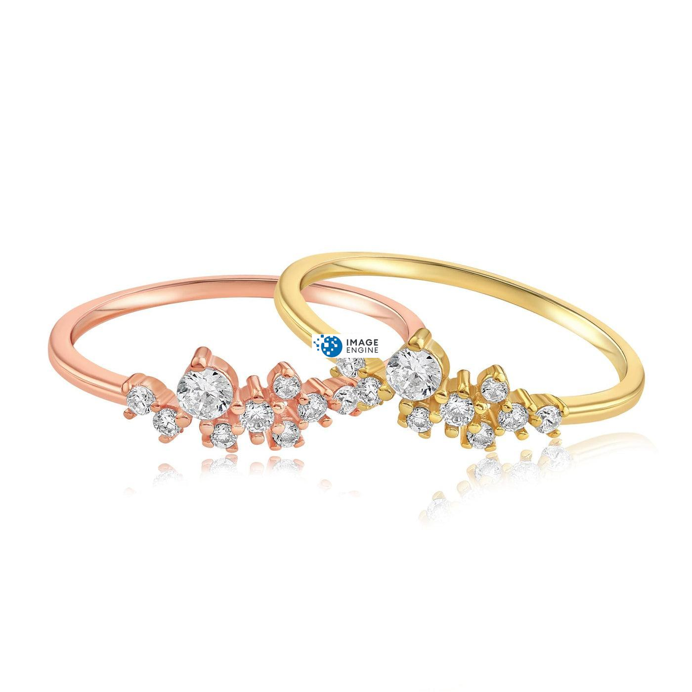 Sasha Sparkle Ring - Front View Side by Side - 18K Rose Gold Vermeil and 18K Yellow Gold Vermeil