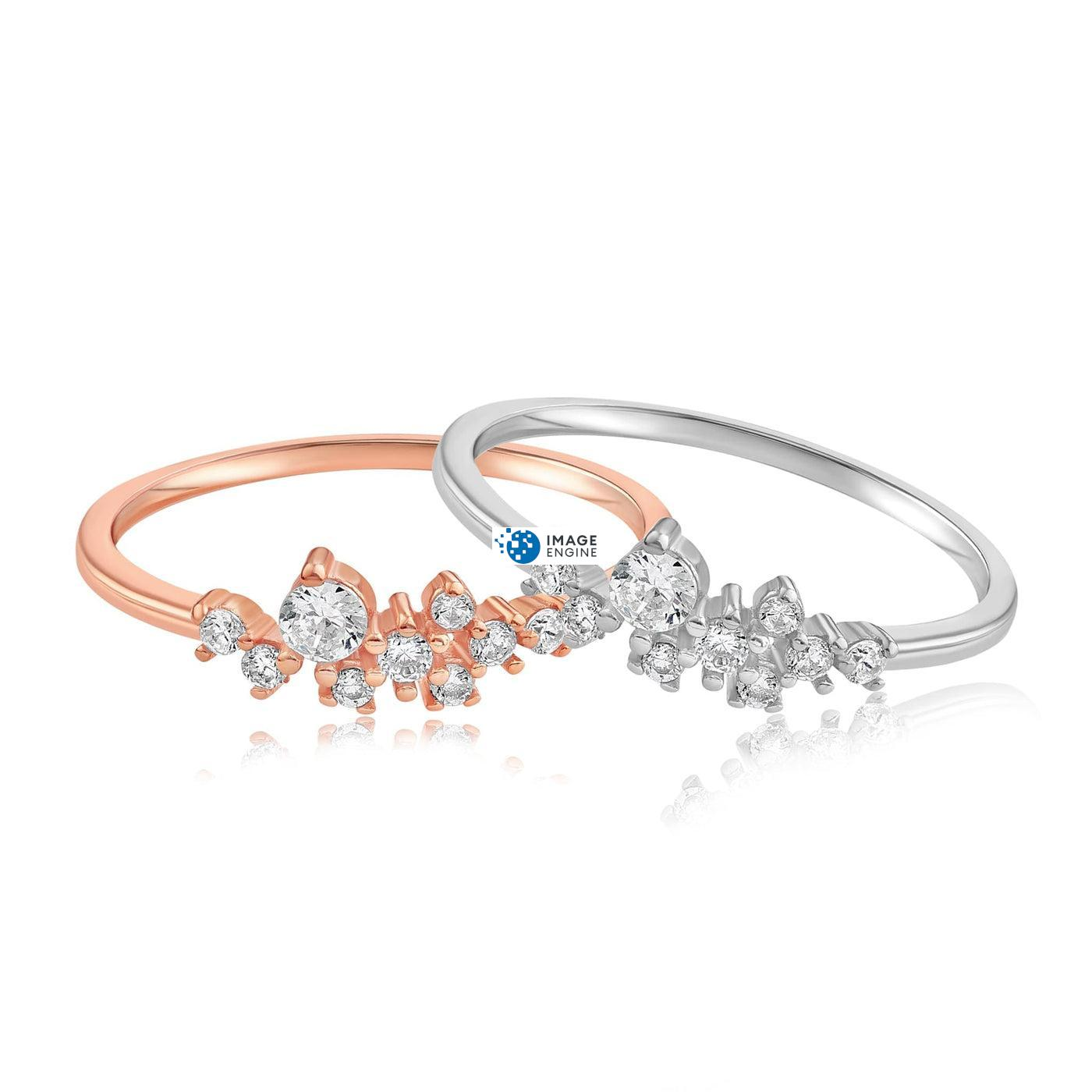 Sasha Sparkle Ring - Front View Side by Side - 18K Rose Gold Vermeil and 925 Sterling Silver